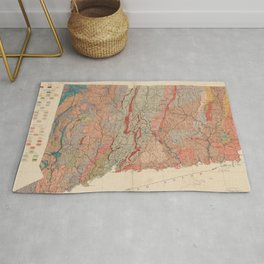 Vintage Connecticut Geology Map (1906) Rug