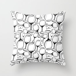 Print with wine glasses. Drawn wine glasses, sketch style. Black on white Throw Pillow