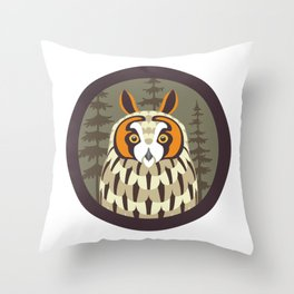 Long-eared Owl Throw Pillow