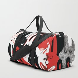 Cute bunnies rabbit doodle art hand drawn vintage illustration pattern Duffle Bag