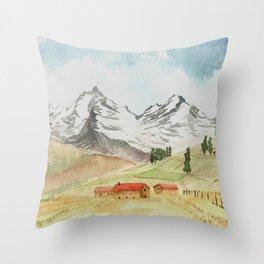 A Highland Village Throw Pillow