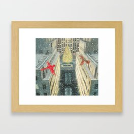 Red and Lulu and the Rockefeller Center Christmas Tree Framed Art Print
