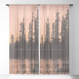 Forest Island at the Lake - Nature Photography Sheer Curtain