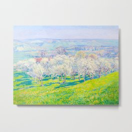 Václav Radimský (1867-1946) Blooming orchard Modern Impressionist Oil Painting Colorful Bright Metal Print