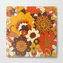 Retro 70s Flower Power, Floral, Orange Brown Yellow Psychedelic Pattern Metal Print