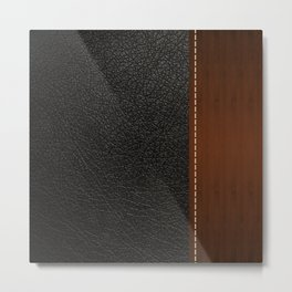Black leather look Metal Print