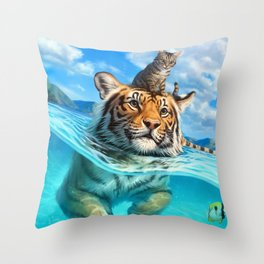 A small swim for a tiger Throw Pillow