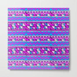 Latin American Pattern Pink Purple Blue. Funky Art. Colourful Pattern Metal Print