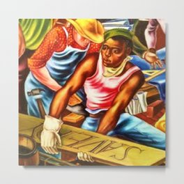 """African American Classical Masterpiece """"The Reconstruction"""" by Hale Woodruff Metal Print"""