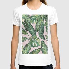Jungle Leaves, Banana, Monstera Pink #society6 T-shirt