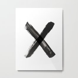 X Minimalist Ink Art Metal Print