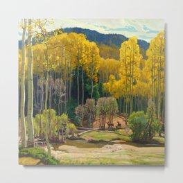 Aspen Trees & Deer, Rocky Mountains Colorado landscape by E. Hennings Metal Print
