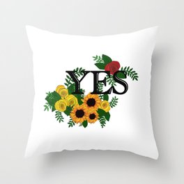 Floral yes Throw Pillow