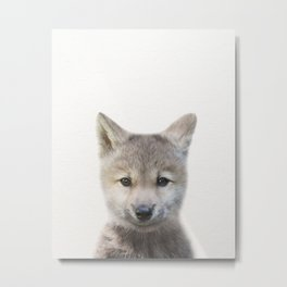 Baby Wolf, Baby Animals Art Print By Synplus Metal Print