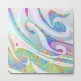 Abstract Colors Waves Design Metal Print