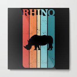 Vintage Retro Rhino Rhinoceros Gift Metal Print