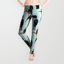 Black and Tan Coonhounds on light blue Leggings