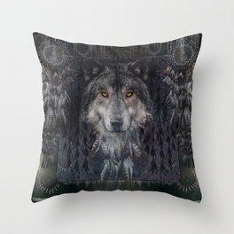Winter mode - Wolf Dreamcatcher Throw Pillow