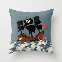 Pirates on stormy seas Throw Pillow