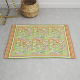 Positive Thought Leaves, Hearts, Flowers Rug