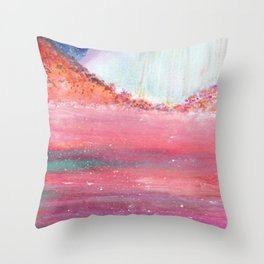 Magical Red Sea Watercolor Art Throw Pillow