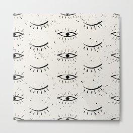 Hand drawn ethnic eyes pattern with grunge background Metal Print