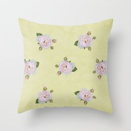 Vintage Pale Pink Roses on Yellow Throw Pillow