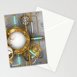 Steampunk Round Banner with Pressure Gauge Stationery Cards