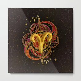 Aries Zodiac Sign Fire element Metal Print