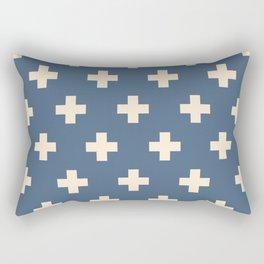 Swiss Cross Blue Rectangular Pillow