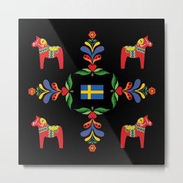 Swedish folk art pattern Metal Print