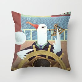 A-Z Animal, Albatross Quartermaster - Illustration Throw Pillow