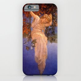 'Reveries' - Girl on a Swing on top of the World by Maxfield Parrish   iPhone Case