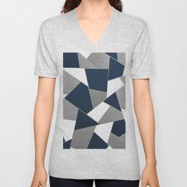 Navy Blue Gray White Mint Geometric Glam #1 #geo #decor #art #society6 Unisex V-Neck