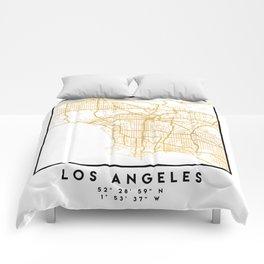 LOS ANGELES CALIFORNIA CITY STREET MAP ART Comforters