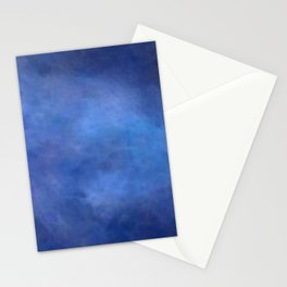 Abstract Soft Watercolor Gradient Ombre Blend 2 Deep Dark Blue and Light Blue Stationery Cards
