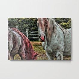 Powder Pink Horses Metal Print