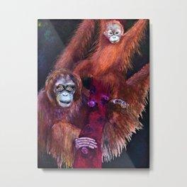 Patient Orangutan Mum and Her Naughty Child Metal Print