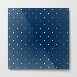 Aligned small beige dots over dark blue Metal Print