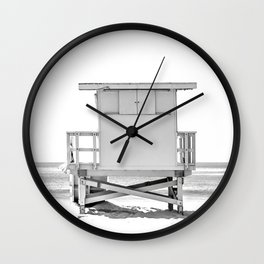 Lifeguard Hut, Black and White, Beach Wall Art Wall Clock
