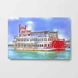 New Orleans Paddle Steamer Pop Art Metal Print