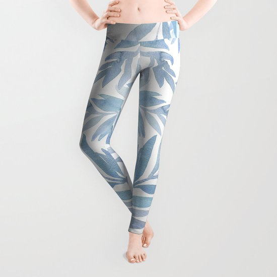 Muted Blue Palm Leaves by hellomonday