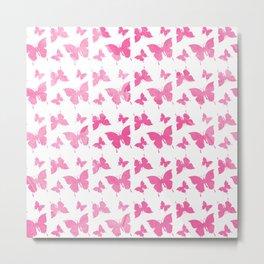 Vintage cute pink watercolor butterflies pattern Metal Print