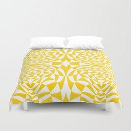 Mid Century Modern Op Art Pattern Yellow Duvet Cover