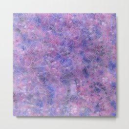 Purple and faux silver swirls doodles Metal Print