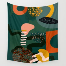 mid century shapes garden party Wall Tapestry