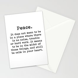 Peace, Inspirational quote, Stationery Cards