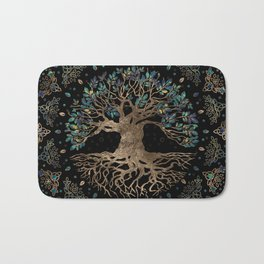 Tree of life -Yggdrasil Golden and Marble ornament Bath Mat