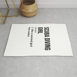 Scuba Diving Girl Funny Quote Rug