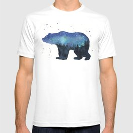 Forest Bear Silhouette Watercolor Galaxy T-shirt
